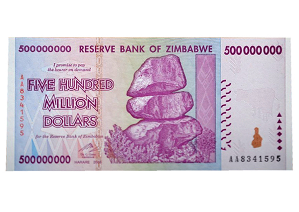 500 Million Zimbabwe Dollar Dollars Collection Bill With Hyperinflation Pamphlet