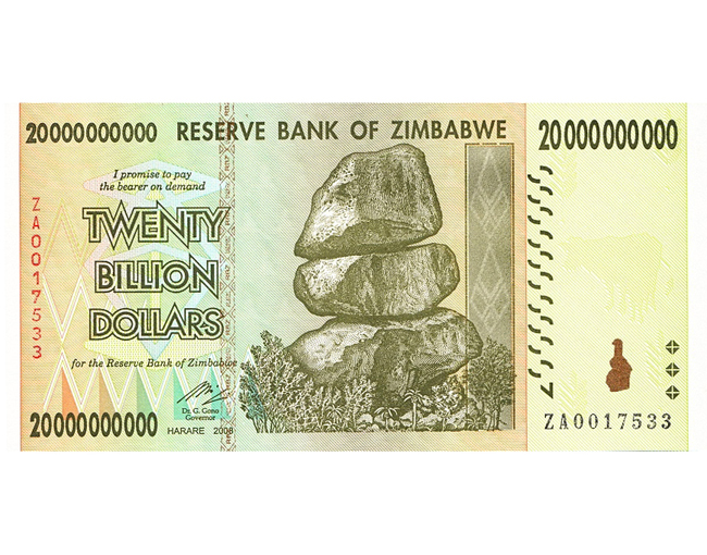 20 Billion Zimbabwe Dollar Dollars Collection With Hyperinflation Bill Pamphlet