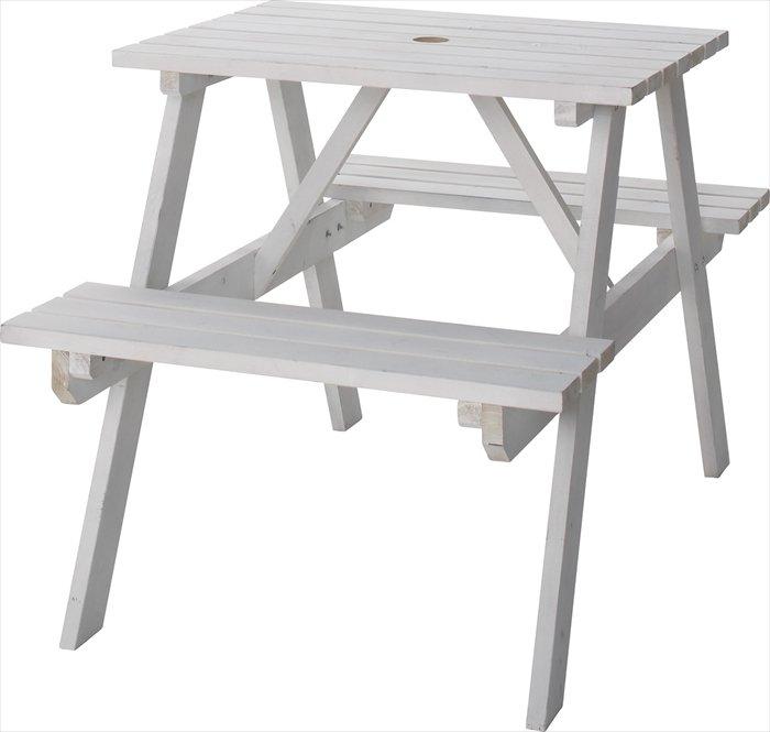 送料無料 テーブル&ベンチW75 ODS-91WH