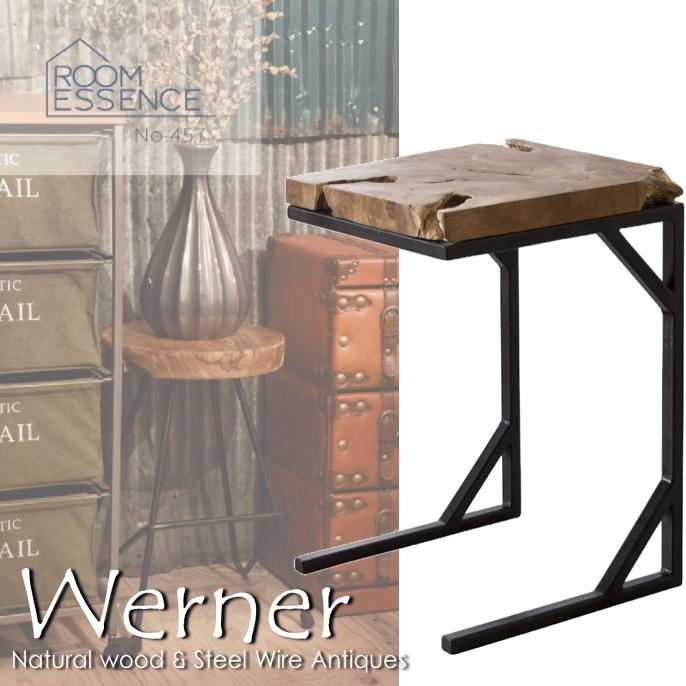 送料無料 サイドテーブル ウェルナー(Werner) TTF-904 サイドテーブル ソファサイドテーブル コーヒーテーブル 天然木 チーク材 無垢 スチール脚 木製 ヴィンテージ アンティーク