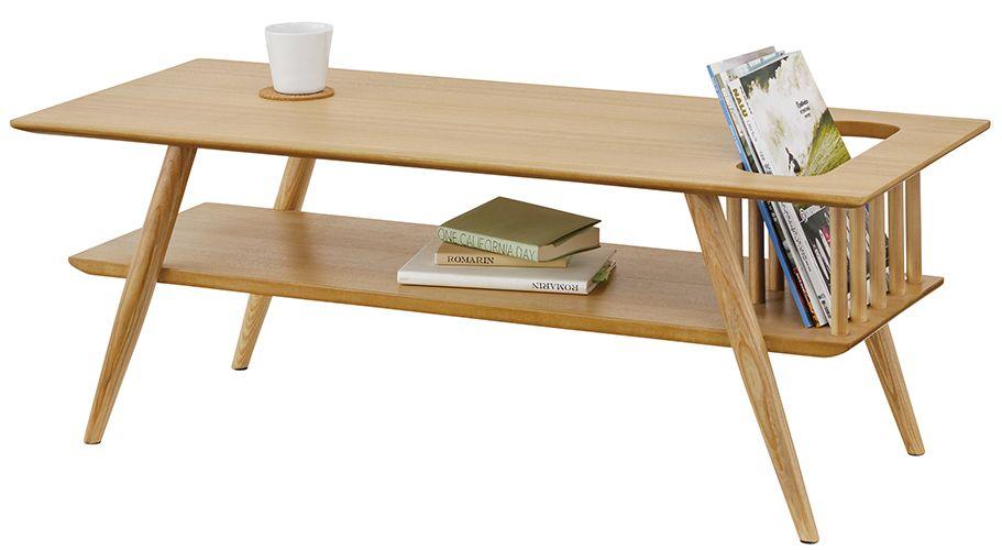 棚付センターテーブル SOT-105NA 木製 テーブル リビングテーブル カフェテーブル ウッドテーブル 棚付き 北欧 西海岸 table ヴィンテージ おしゃれ レトロ モダン