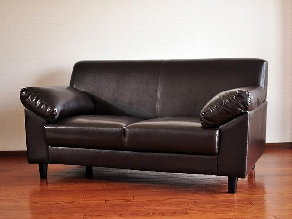送料無料 2人掛けシンプルレザ―ソファ WKS-8063 座椅子 ソファ 皮 リビング ダイニング 居間 客間 来客用 待合室 ゲストルーム レザーソファ 二人掛け