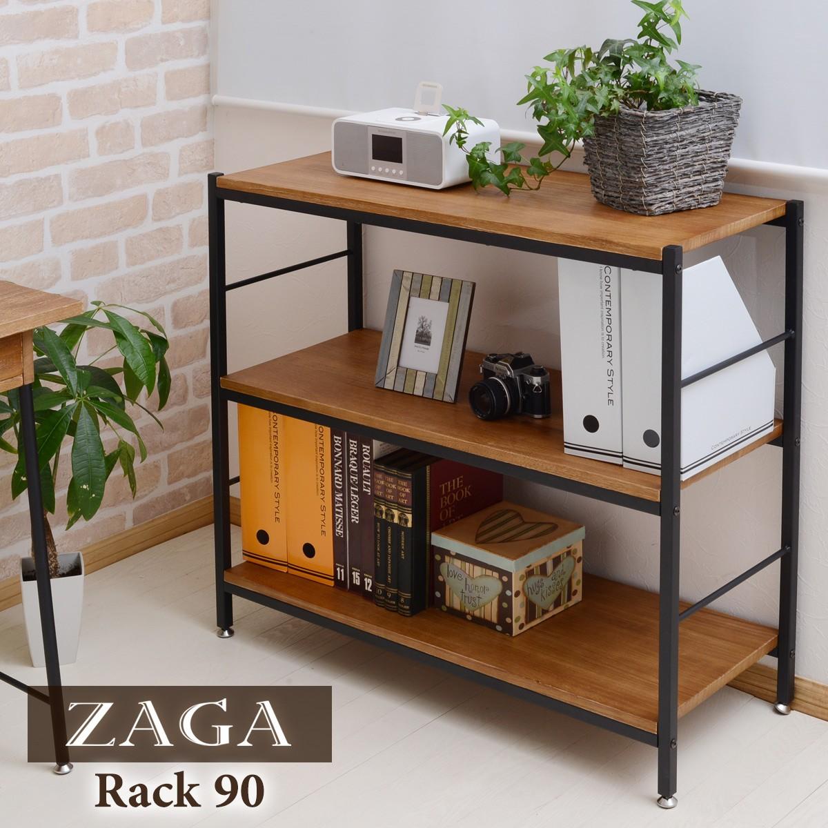 送料無料 ZAGA(ザガ)ラック 幅90 ZR-900 アンティーク風 無垢桐材 ラック 収納 アイアン 木製 ディスプレイ 木製 北欧 シンプル 棚 ディスプレイラック シェルフ 本棚