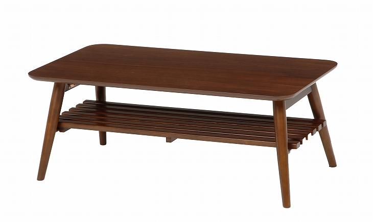 送料無料 HAGIHARA 折れ脚テーブル(ブラウン) MT-6921BR