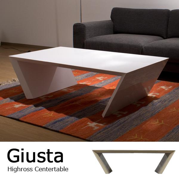 ホワイトハイグロス仕上げ センターテーブル / Giusta(ギュスタ) [商品番号:310a]