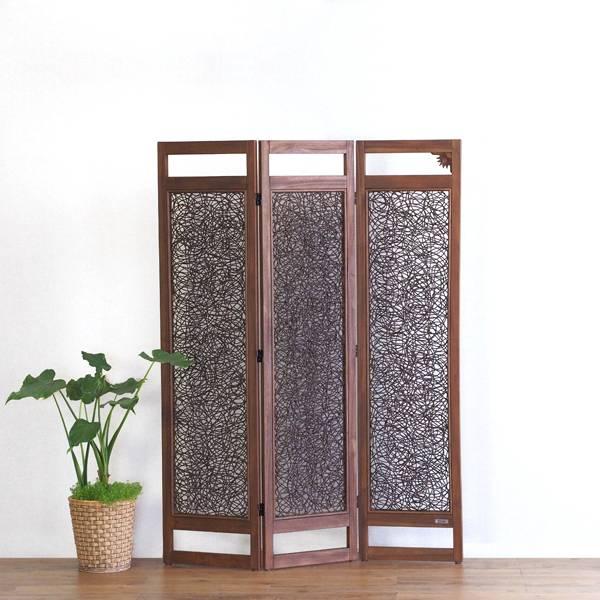 送料無料 アジアン家具 @CBi(アクビィ) チーク無垢材×ラタン 3連パーティション ACP333KA