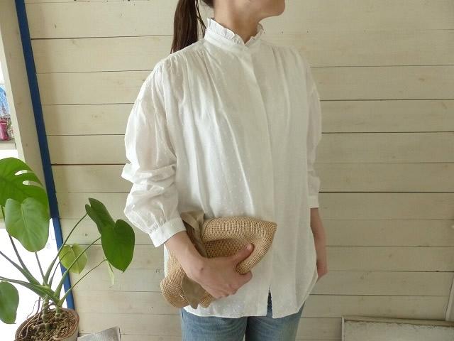 STAMP AND DIARY(スタンプアンドダイアリー) フリルスタンドカラーギャザーシャツ(SD91SS11)