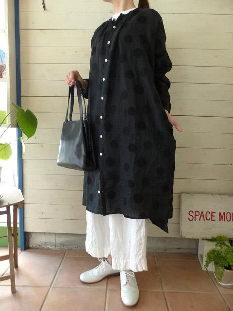 style+confort(スティールエコンフォール) リネン刺繍ドットシャツワンピース(901-50611)