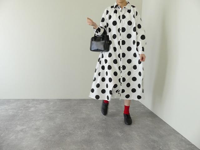 ichi(イチ) ビッグドットプリント 衿付きシャツワンピース(200402)