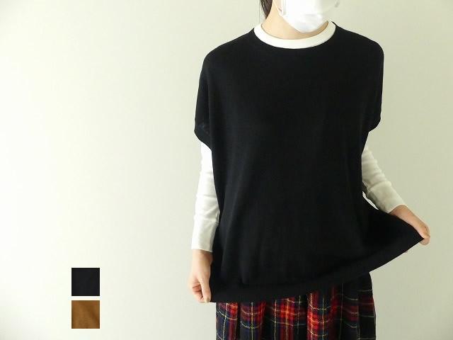 MidiUmi(ミディウミ) washed wool wide vest(3-728517)