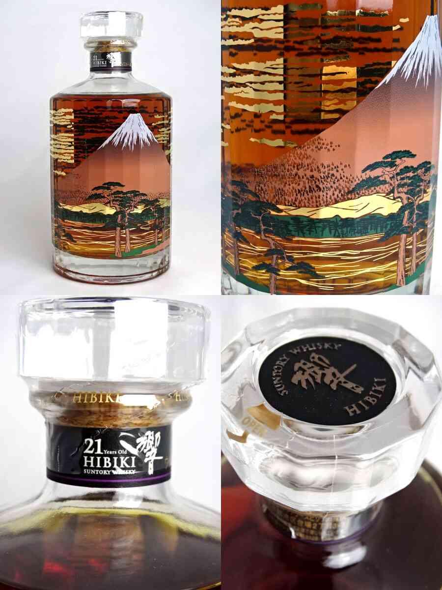 三得利科诺 21 年瓶设计 (富士风云图) 2015年 700 毫升 43 ° 独家木盒,小册子与三得利科诺日本威士忌 A00851