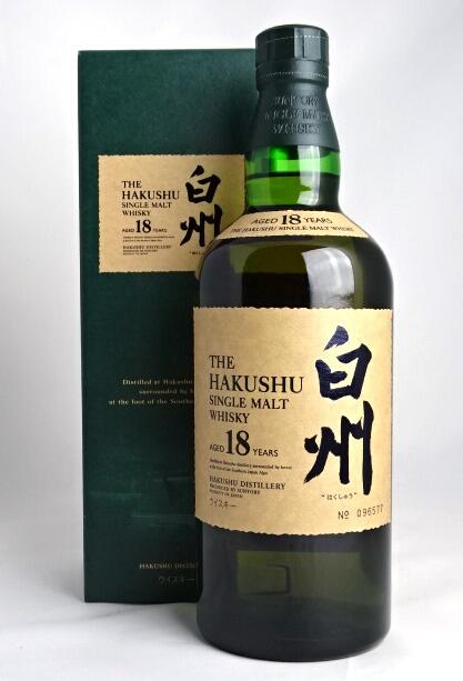 Hakushu 18 年单一麦芽威士忌 700 毫升 43 ° 框与三得利 HAKUSHU 单一麦芽威士忌岁 18 年 A02224