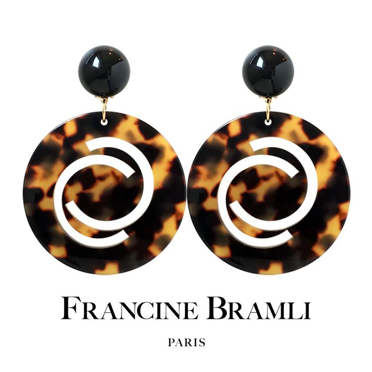 FRANCINE BRAMLI PARIS フランシーヌ ブラムリ パリ フランス クリップ式 大ぶりイヤリング 揺れる べっ甲風【送料無料】【ラッピング無料】