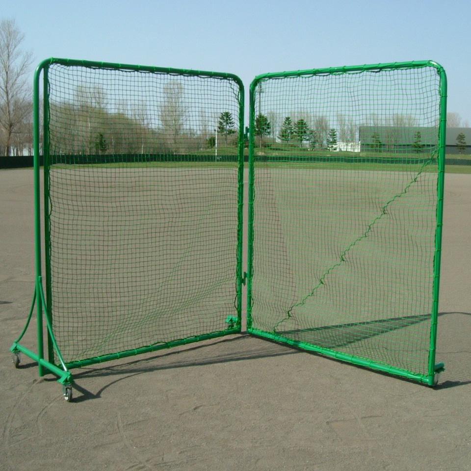 野球 防球ネット 組立式 防護ネット 防球フェンス ピッチャーカバーV型 2M×2M×2枚キャスター付き □37.5/90本(受注生産品)