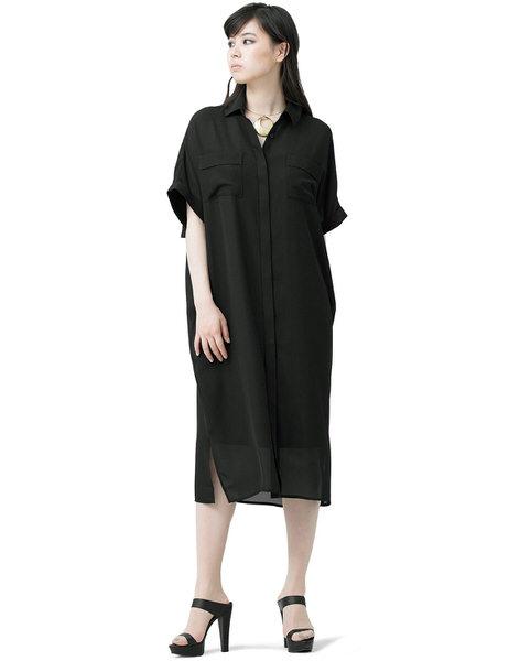SPECCHIO スペッチオ シフォン バック ラッフル シャツ ワンピース ブラック ロング丈