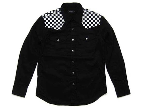 CHECKER WESTERN SHIRT ヨークチェッカー(チェッカーウエスタンシャツヨークチェッカー) 白黒市松模様格子柄チェックチェッカーフラッグロックマウントrock mounthbarcwranglerラングラーleelevi'sリーバイスワークシャツアメリカusa