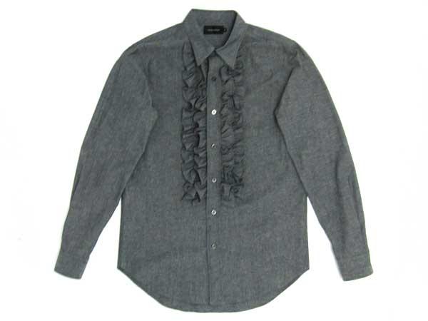 CHAMBRAY FRILL SHIRT(シャンブレーフリルシャツ)BLACK ドレスシャツタックシャツプリーツシャツブラウスラルフローレンデニムアンドダンガリーrrlkatoカトーwranglerラングラーleelevi'sリーバイスアメカジ古着アメリカusa50s60s70s