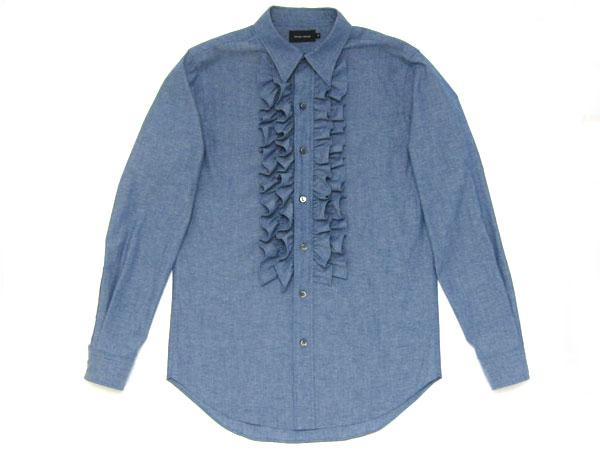 CHAMBRAY FRILL SHIRT(シャンブレーフリルシャツ)BLUE クラシックドレスハイモードフリルブラウスプリーツタックダンガリーワーク古着ストリートアメカジュアルメンズレディース男性用女性用男女兼用日本製インディゴ衣装アウタートップス
