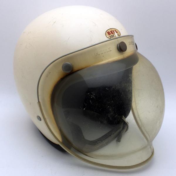 純正シールド付 水貼り Wストラップ BELL 500-TX WHITE 57cm 【海外直輸入中古品】スモールジェットヘルメットオープンフェイスアメリカンベルホワイト白色S~Mサイズ