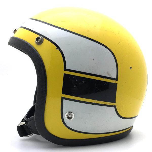 KRW YAMAHA STROBE YELLOW 56cm 【海外直輸入中古品】スモールジェットヘルメットオープンフェイスアメリカンヤマハイエロー黄色ストロボ柄スピードブロックチェーンブロックパターンインターカラーケニー・ロバーツSサイズ