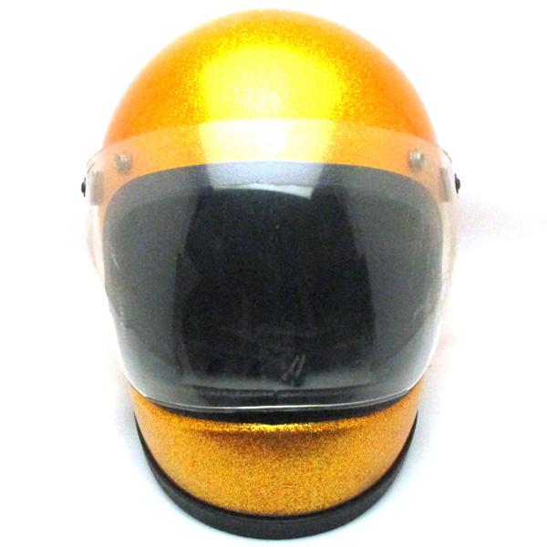 シールド付 FULLFACE METALFLAKE GOLD 57cm 【海外直輸入中古品】フルフェイスヘルメット族ヘルオンロードゴールド金色S~Mサイズ