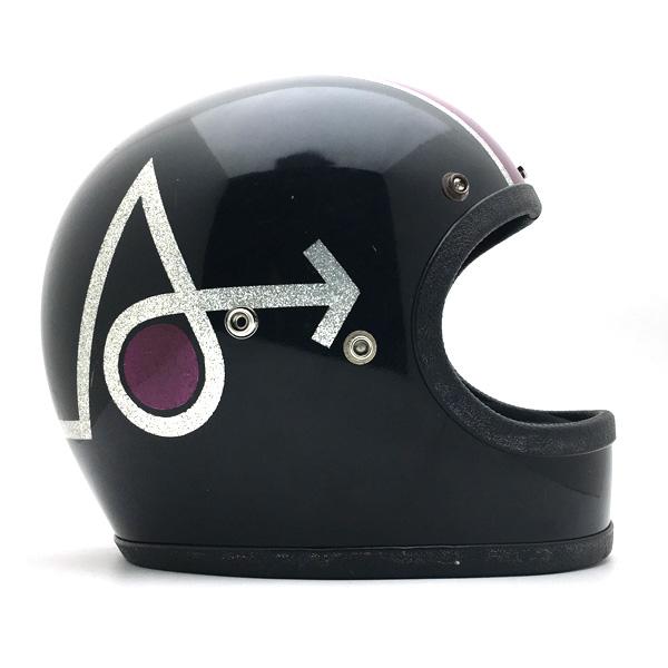 ARROW BLACK×PURPLE 56cm 【海外直輸入中古品】フルフェイスヘルメット族ヘルオンロードアローブラック黒色パープル紫色Sサイズ