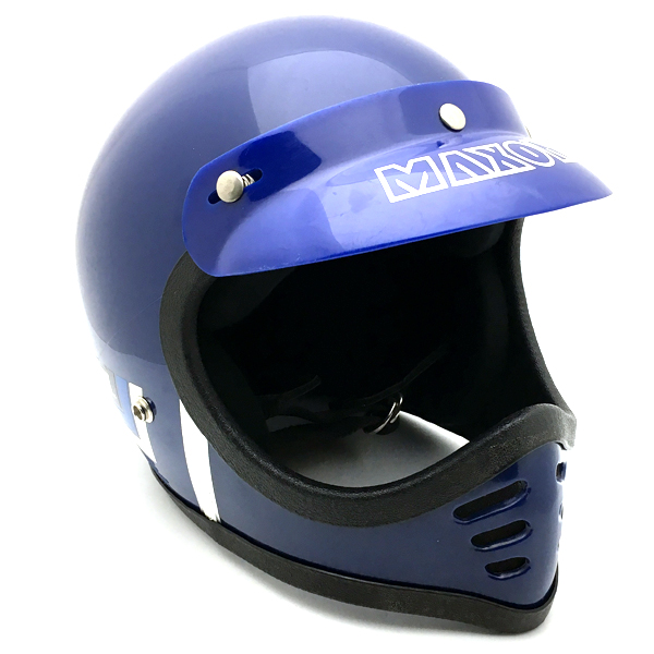 純正バイザー付 MAXON MX BLUE 56cm 【海外直輸入中古品】フルフェイスヘルメットオフロードモトクロスvmxダートトラッカートレールスクランブラーエンデューロマクソンブルー青色Sサイズ