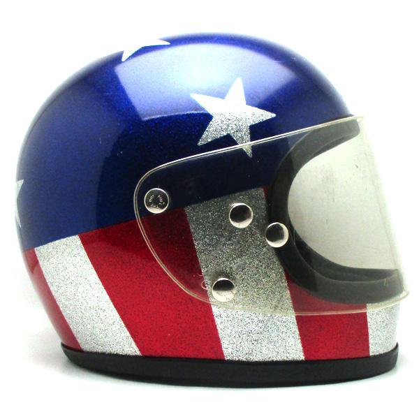 【1月27日値下】シールド付 CAPTAIN AMERICA 61cm 【海外直輸入中古品】フルフェイスヘルメット族ヘルオンロードレッド赤色ブルー青色シルバー銀色Stars&Stripes星条旗アメリカ国旗easyriderイージーライダーキャプテンアメリカラメメタルフレークL~XLサイズ