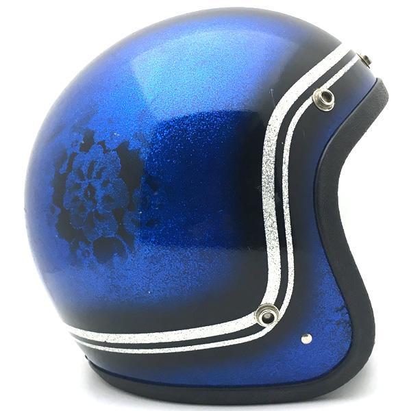 SAFETECH FLOWER BLUE 58cm スモールジェットヘルメットオープンフェイスアメリカンブルー青色フラワー花柄ラメメタルフレークMサイズ