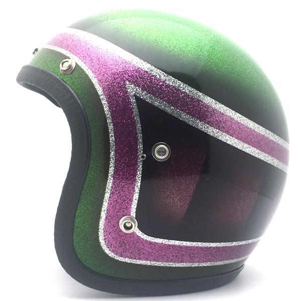 JET METALFLAKE GREEN×PINK 59cm 【海外直輸入中古品】スモールジェットヘルメットオープンフェイスアメリカングリーン緑色ピンクラメメタルフレークM~Lサイズ