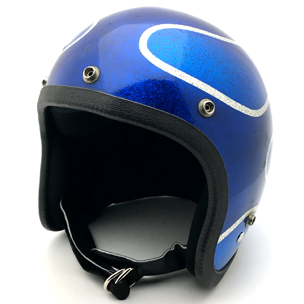 FLAMES BLUE 56cm 【海外直輸入中古品】スモールジェットヘルメットオープンフェイスアメリカンブルー青色フレイムス炎柄Sサイズ