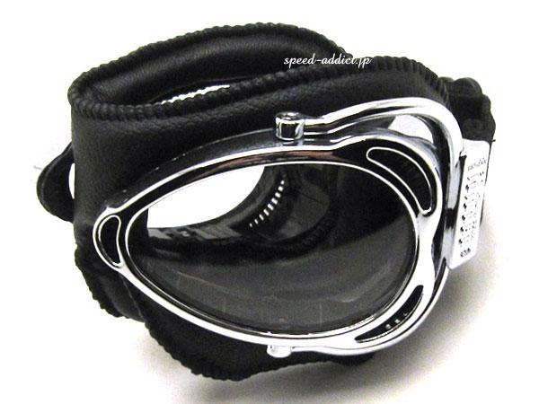 nannini Streetfighter GOGGLE(ナンニーニストリートファイターゴーグル)BLACK/CHROME × ANTI FOG CLEAR 黒ブラック2つ折りたたみメガネ二つ折り畳み眼鏡サングラスbiker shadeバイカーシェードジェットヘルメットオープンフェイス70s