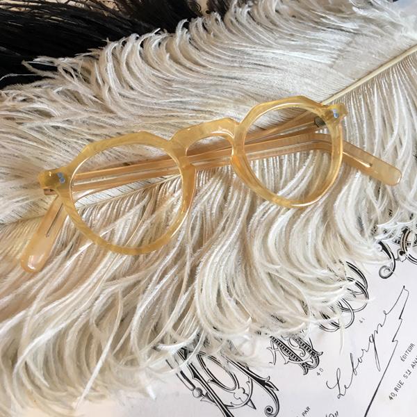 50's FRANCE CEBO Crown Panto Frame(セボ クラウンパント メガネフレーム)Yellow 【海外直輸入新古品】眼鏡めがねイエロー黄色セルロイドフランスフレームアンティークフレンチサングラスボストン型ボスリントンクラシカル1950年代