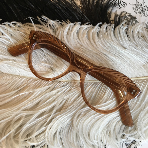 50's FRANCE HAND CARVED GLASS(50sフランスハンドカーブドグラス) brownブラウン茶色ヴィンテージ眼鏡メガネめがねセルロイド模様ハンドメイドアンティークレトロクラシカルボストン型ボスリントンシェイプ