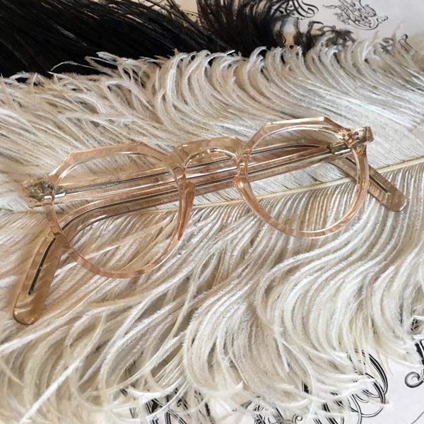 50's FRANCE CROWN PANTO GLASS(50sフランスクラウンパントグラス) clearrosapinkクリアローズピンクceboボストン型ボスリントンシェイプ眼鏡メガネめがねセルロイドアンティークレトロクラシカル個性的