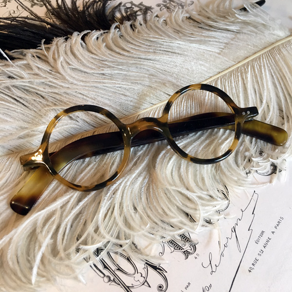 30's FRANCE LLOYD GLASS(30sフランスロイドグラス) べっ甲デミカラー鼈甲べっこうトートイズシェルロイド眼鏡丸メガネサークルめがね丸型フレームレトロアンティーククラシカル知的クール男女兼用メンズレディース