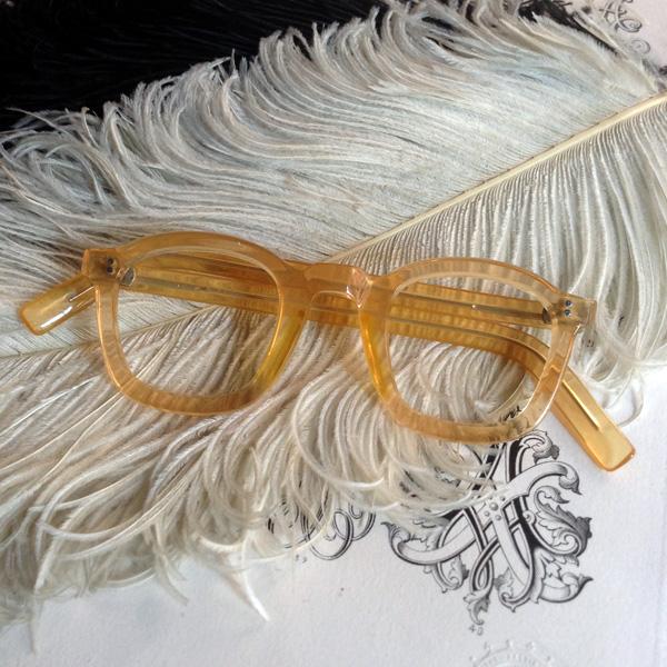 50's FRANCE Parisian Frame(パリジャン メガネフレーム)Yellow イエロー黄色スクエアウェリントン型太フレーム定番四角シェイプ眼鏡メガネめがねハンドメイドセルロイド1950年代レトロクラシカル男女兼用メンズレディース