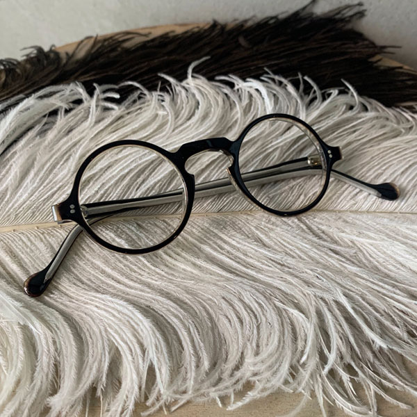 40's FRANCE Boston Frame(ボストン メガネフレーム)Dark Brown/Clear ヴィンテージ眼鏡ビンテージめがねデッドストックnosボストン型ダークブラウンクリア透明丸メガネ丸眼鏡ヴィンテージビンテージセルフレームレトロフランスパリ