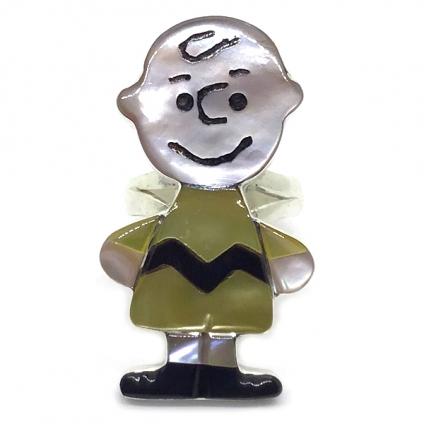 Paula Leekity Charlie Brown Ring(ポーラ リーキティ チャーリー・ブラウン全身 リング10号) ズニ族zuniインディアンジュエリーネイティブアメリカンインレイ技法シルバー貝シェルオニキスヴィンテージジュエリービンテージアンティーク