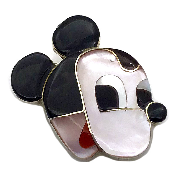 Paula Leekity Brooch Pendant top Mickey Mouse(ポーラ リーキティ ブローチ・ペンダントトップ ミッキーマウス) indian jewelryネックレス首飾りニードルピンフェイスウォルトディズニーwaltdisneyミッキーグッズ90周年インレイ技法