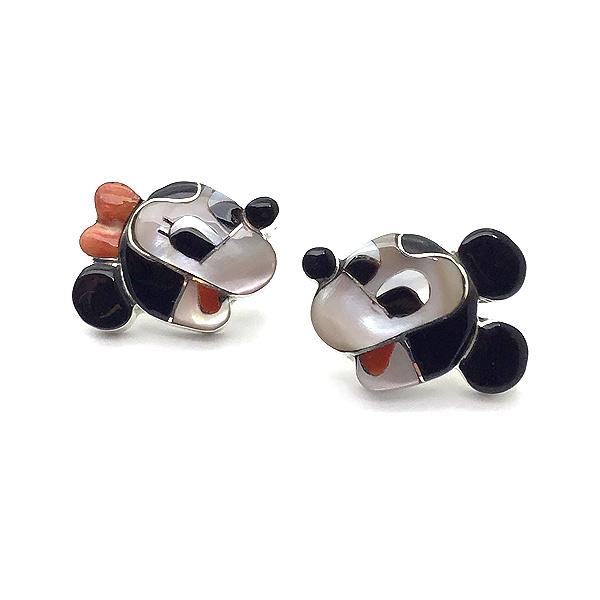 Paula Leekity Mickey Mouse and Minnie Mouse Earrings (ポーラ リーキティ ミッキーマウス&ミニーマウス 顔 ピアス)ズニ族zuniインディアンジュエリーネイティブアメリカンインレイ技法貝シェルジェットサンゴジュエリーアンティーク