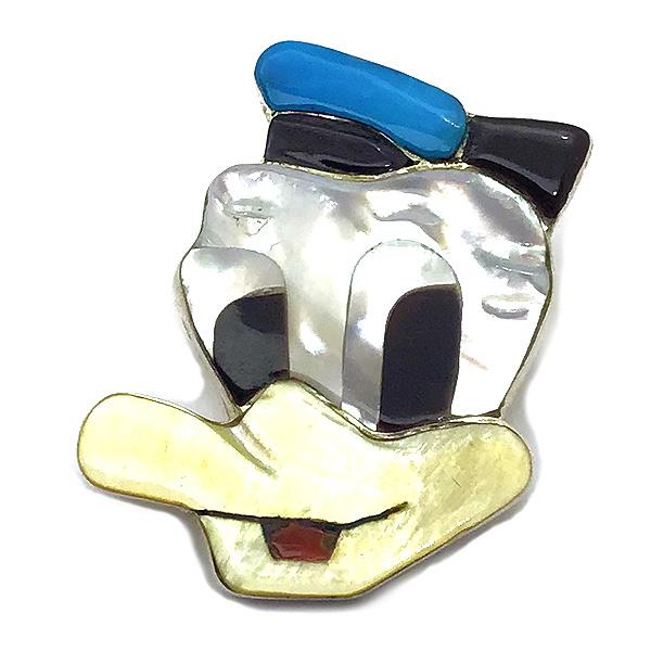 Paula Leekity Donald Duck Brooch Pendant top (ポーラ リーキティ ドナルドダック 顔 ブローチ・ペンダントトップ) ズニ族zuniインディアンジュエリーネイティブアメリカンインレイ技法シルバーシェル貝オニキス伝統工芸品ディズニー