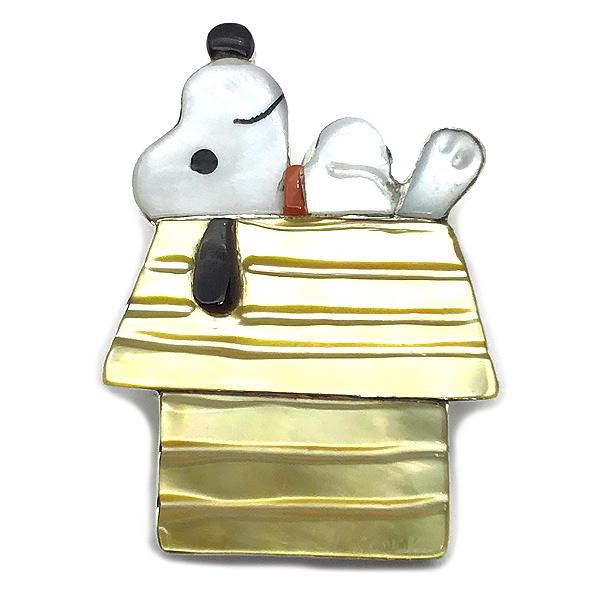 Paula Leekity Snoopy on Rooftop Brooch Pendant top (ポーラ リーキティ 屋根の上のスヌーピー ブローチ・ペンダントトップ) ズニ族zuniインディアンジュエリーネイティブアメリカンインレイ技法シルバーサンゴヴィンテージジュエリー