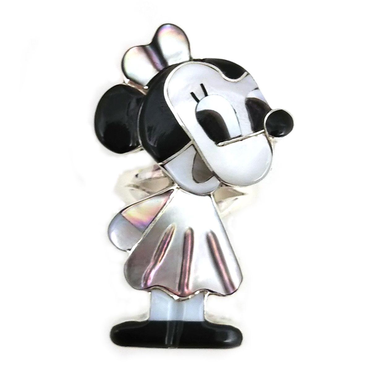 Paula Leekity Minnie Mouse Ring(ポーラ リーキティ ミニーマウス リング17号) ズニ族zuniインディアンジュエリーネイティブアメリカンインレイ技法シルバーシェル貝オニキスサンゴ指輪ヴィンテージジュエリービンテージアンティーク