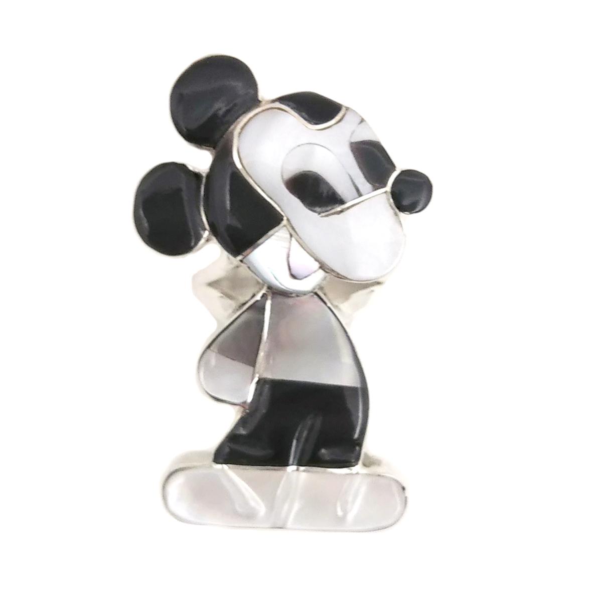 Paula Leekity Ring Mickey Mouse(ポーラ リーキティ リング 9.5号 ミッキーマウス) ズニ族zuniインディアンジュエリーネイティブアメリカン インレイ技法シルバー貝シェルジェットサンゴヴィンテージジュエリービンテージアンティーク