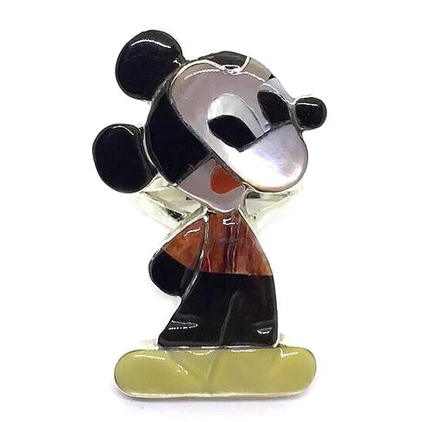 Paula Leekity Ring Mickey Mouse(ポーラ リーキティ リング 10号 ミッキーマウス)ズニ族zuniインディアンジュエリーネイティブアメリカンインレイ技法シルバー貝シェルオニキス指輪キャラクターdisneyディズニー伝統工芸品