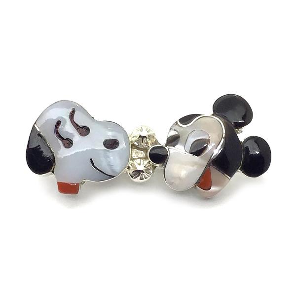Paula Leekity Snoopy and Mickey Mouse Brooch Pendant top(ポーラ リーキティ スヌーピー&ミッキーマウス顔 ブローチ・ペンダントトップ) ズニ族zuniインディアンジュエリーネイティブアメリカンインレイ技法シルバーシェルオニキス