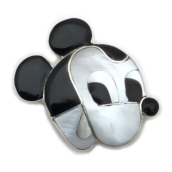 Paula Leekity Mickey Mouse Brooch Pendant top (ポーラ リーキティ ミッキーマウス 顔 ブローチ・ペンダントトップ) zuniインディアンジュエリーネイティブアメリカンインレイ技法シルバーシェルジェットサンゴヴィンテージジュエリー