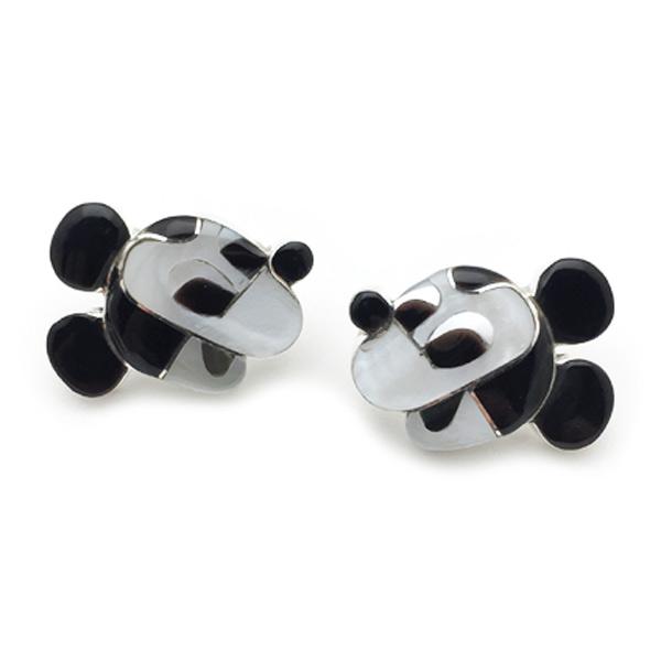 Paula Leekity Earrings Mickey Mouse(ポーラ リーキティ ピアス ミッキーマウス)ズニ族インディアンジュエリーネイティブアメリカンインレイ技法シルバーオニキスシェルジェットサンゴヴィンテージジュエリービンテージアンティーク