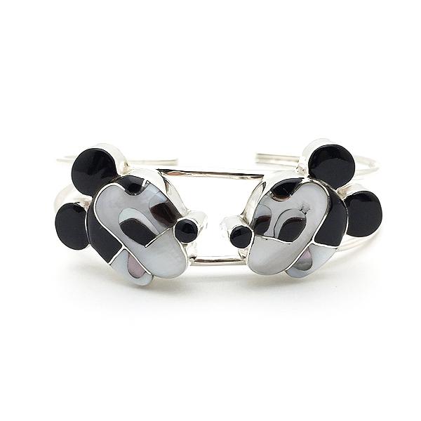 Paula Leekity Bangle Mickey Mouse(ポーラ リーキティ バングル ミッキーマウス)腕輪ブレスレットズニ族zuniインディアンジュエリーネイティブアメリカンインレイ技法シルバーシェルヴィンテージジュエリービンテージアンティーク
